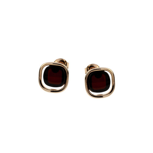 Post  Earrings with Cherry Color Baltic Amber in Rose Goldplated Sterling Silver