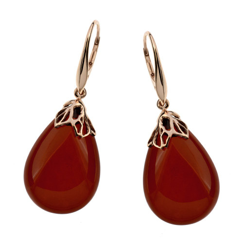 Classic Drop Earrings with Cherry Color Baltic Amber in Rose Goldplated Sterling Silver