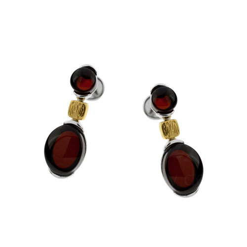 Cherry Color 2 stones Baltic Amber Earrings in mix Sterling Silver & Rose Gold-plated Sterling Silver