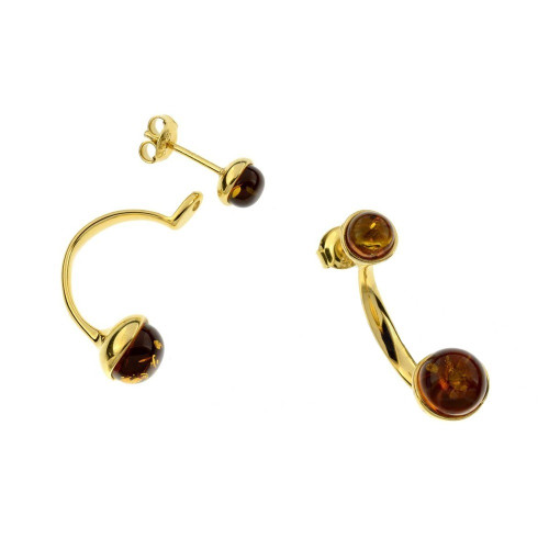 Two in One Earrings with Cognac Color Baltic Amber in Yellow Goldplated Sterling Silver