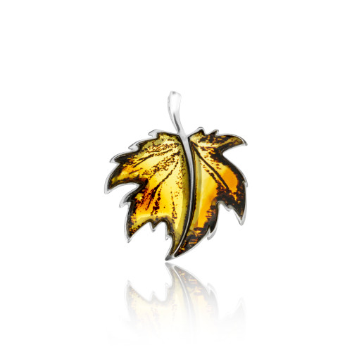 Carved leaves Collection Cognac Color Baltic Amber big Pendant in Sterling Silver