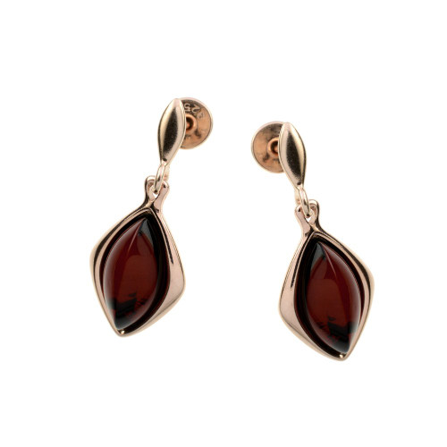 Push backs Earrings with Cherry Color Baltic Amber in Rose Gold Plated Sterling Silver