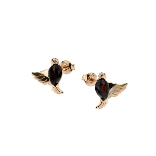 Small bird Stud Earrings with Cherry Color Baltic Amber in Rose Goldplated Sterling Silver