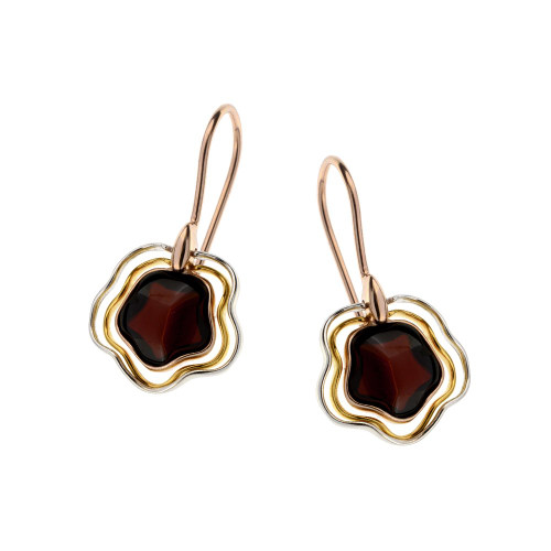Cherry Color Baltic Amber Fishhooks Earrings in mix Sterling Silver & Rose Gold-plated Sterling Silver