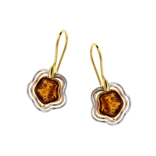 Cognac Color Baltic Amber Fishhooks Earrings in mix Sterling Silver & Yellow Gold-plated Sterling Silver