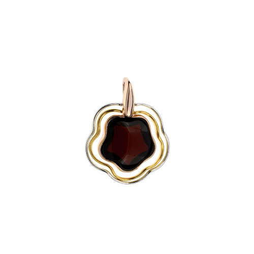 Pendant with Cherry Color Baltic Amber in mix Sterling Silver & Rose Gold-plated Sterling Silver