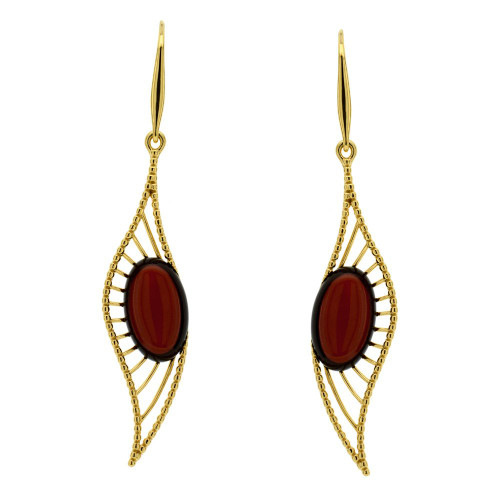 Cherry Color Baltic Amber Lever-back Long Earrings in Rose Gold Plated Sterling Silver