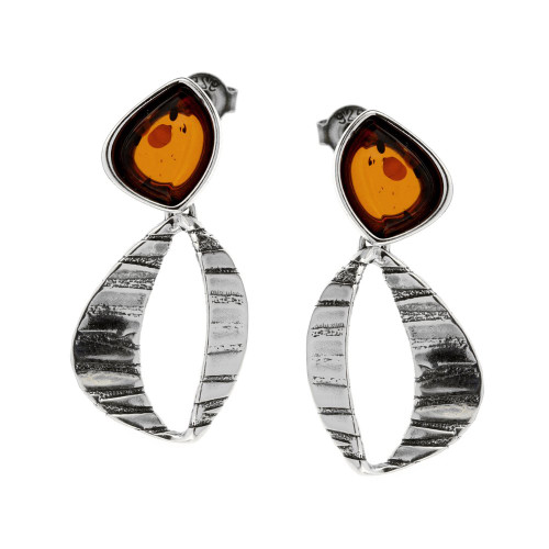Cognac Color Baltic Amber stone Post Dangles Earrings in Sterling Silver