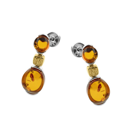 Cognac Color Baltic Amber Post Earrings in mix Sterling Silver & Yellow Gold-plated Sterling Silver
