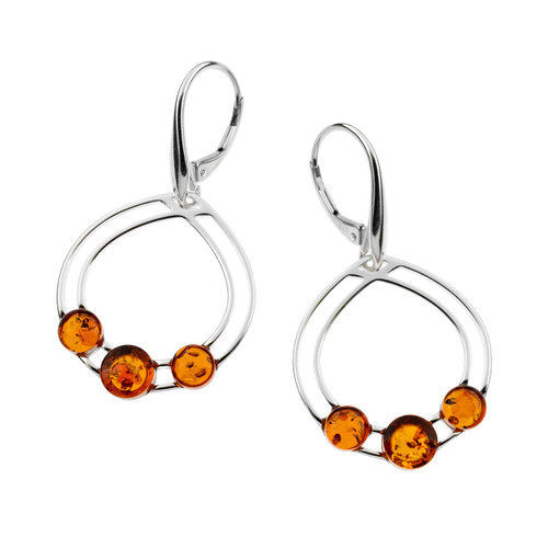 Cognac Color Baltic Amber 3 stone Dangles Earrings in Sterling Silver