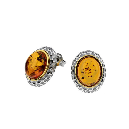 Oval shape Cognac Color Baltic Amber Post Earrings in mix Sterling Silver & Yellow Gold-plated Sterling Silver