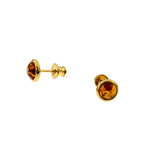 Small Round Cognac Color Baltic Amber Stud Earrings in Yellow Goldplated Sterling Silver