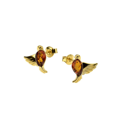 Small bird Stud Earrings with Cognac Color Baltic Amber in Yellow Goldplated Sterling Silver