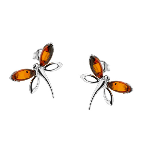 Dragonfly shape Cognac Color Baltic Amber Stud Earrings in Sterling Silver