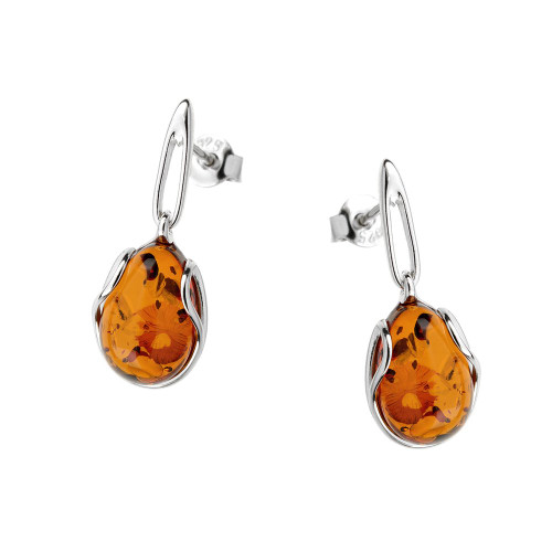 Small Teardrop Earrings with Cognac Color Baltic Amber in Sterling Silver