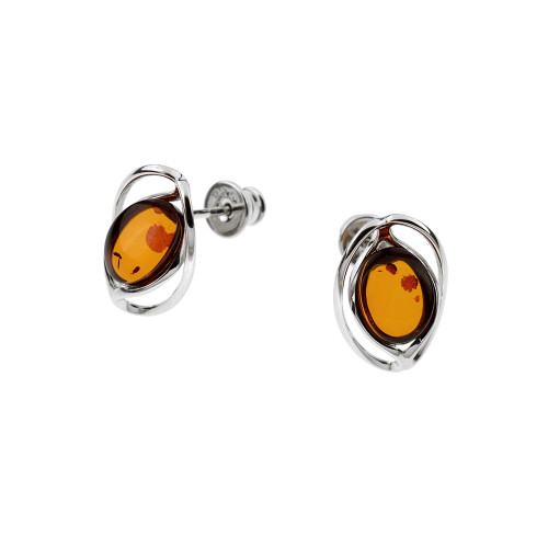 Small Stud Earrings with Cognac Color Baltic Amber in Sterling Silver