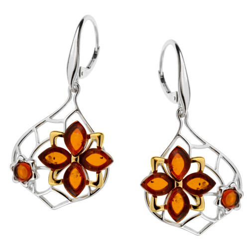 Cognac Color Baltic Amber  Earrings in mix Sterling Silver & Yellow Gold-plated Sterling Silver