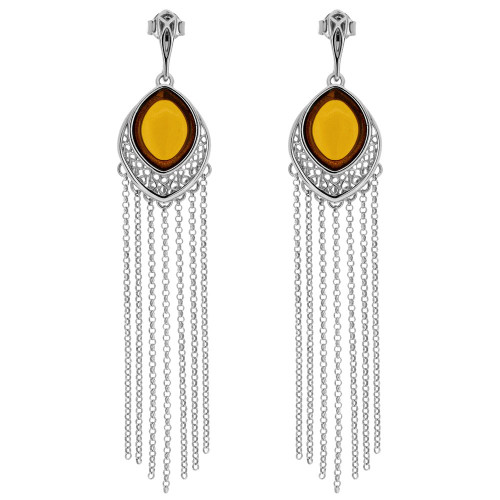 Long post Earrings with Cognac Color Baltic Amber in Sterling Silver