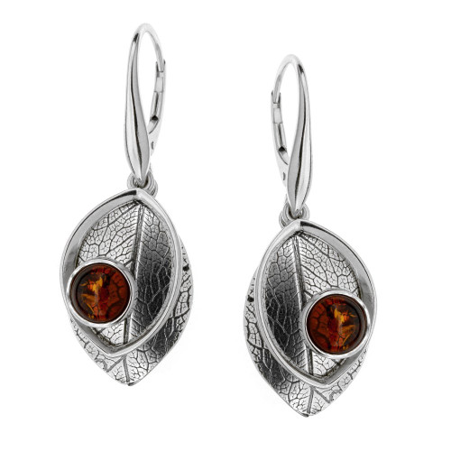 Leaf Touch Collection Cognac Color Baltic Amber Earrings in Sterling Silver