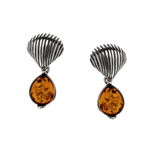 Shall with Teardrop Cognac Color Baltic Amber Earrings in Sterling Silver