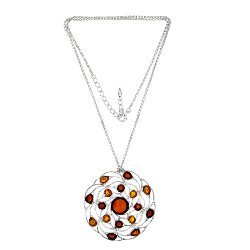 Big Round Multi Color Baltic Amber Necklace in Sterling Silver