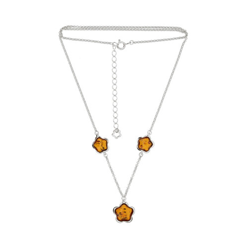 Cognac Color Baltic Amber stone necklace in Sterling Silver
