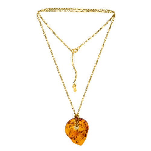 Silver Gold-plated Baltic Amber Necklace