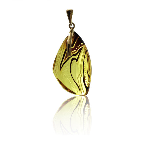 Unique Carved Baltic Amber Pendant in 14Kt Gold - DG504P