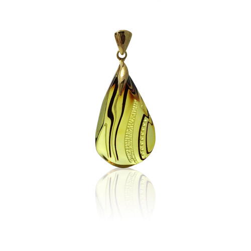 Unique Carved Baltic Amber Pendant in 14Kt Gold - DG535P