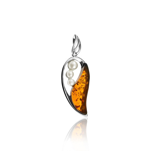 Cognac Color Baltic Amber & White Pearl Pendant in Sterling Silver