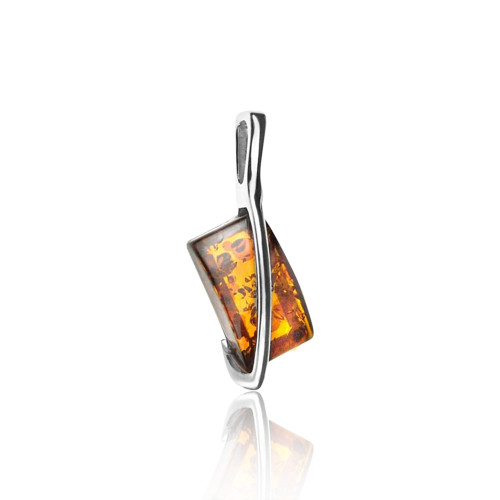 Cognac Color Baltic Amber Pendant in Sterling Silver