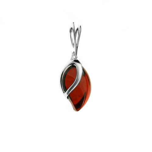 Pendant with Cherry Color Baltic Amber in Sterling Silver