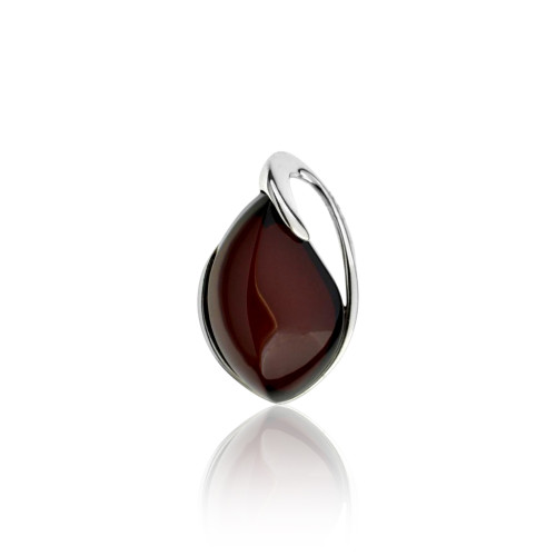 Pendant with Cherry Color Baltic Amber Stone in Sterling Silver