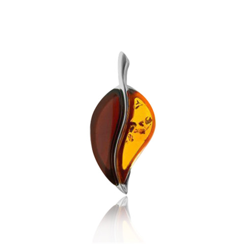 Multi Color Baltic Amber Pendant in Sterling Silver