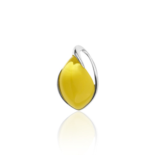 Pendant with Butterscotch Color Baltic Amber Stone in Sterling Silver