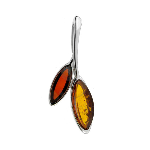 Two Color Baltic Amber Pendant in Sterling Silver