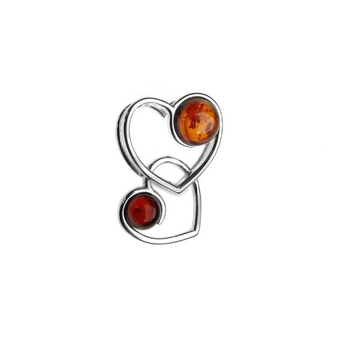 Two Heart Shape Multi Color Baltic Amber Pendant in Sterling Silver