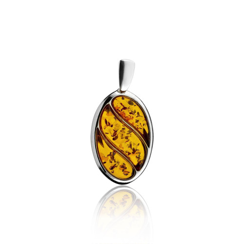 Oval Shape Pendant with Cognac Color Baltic Amber Stone in Sterling Silver