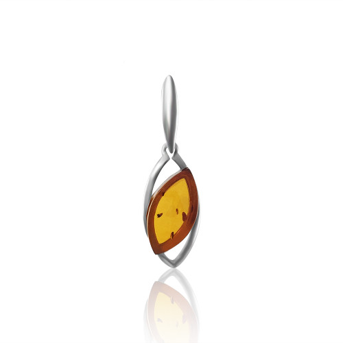 Small Pendant with Cognac Color Baltic Amber in Sterling Silver