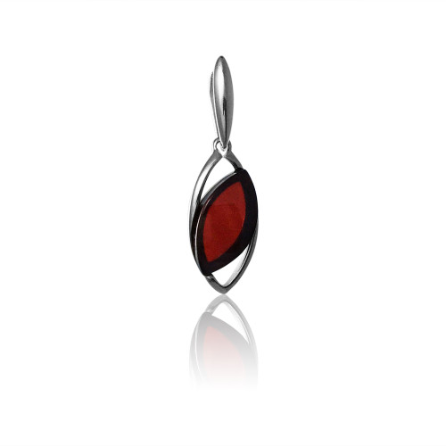 Small Pendant with Cherry Color Baltic Amber in Sterling Silver