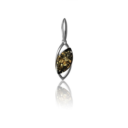 Small Pendant with Green Color Baltic Amber in Sterling Silver