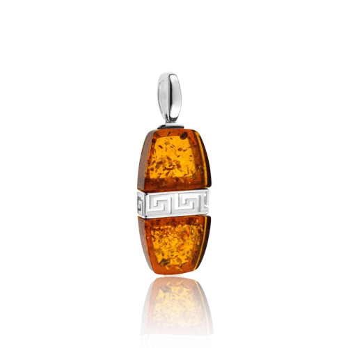 Cognac Color Baltic Amber Pendant with Greek motif in Sterling Silver