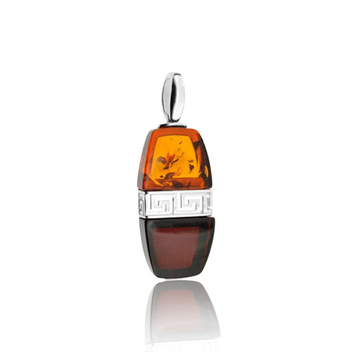 Multi Color Baltic Amber Pendant with Greek motif in Sterling Silver