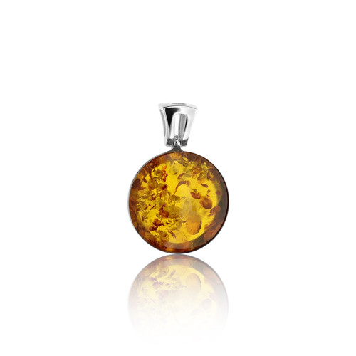 Classic Round Shape Pendant with Cognac Color Baltic Amber in Sterling Silver