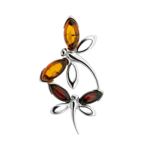 Dragonfly Shape Multi Color Baltic Amber Pendant in Sterling Silver