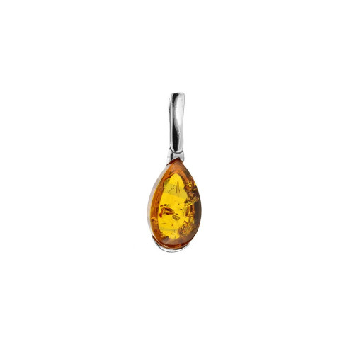 Small Drop Pendant with Cognac Color Baltic Amber in Sterling Silver