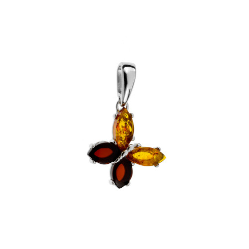 Small Butterfly shape Pendant with Multi Color Baltic Amber in Sterling Silver