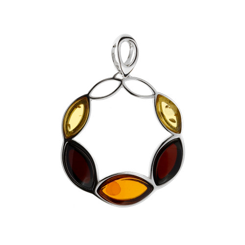 Pendant with Multi Color Baltic Amber Stones in Sterling Silver