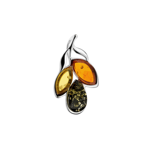 Leafs shape Pendant with Multi Color Baltic Amber Stones in Sterling Silver
