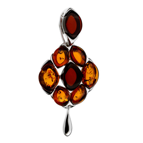 Multi Color Baltic Amber Stones Pendant in Sterling Silver